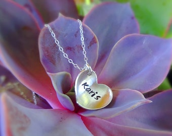 Girls name necklace, personalized necklace for little girl, heart necklace, sterling silver, back to school gift for girl, custom name