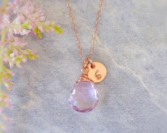 Personalized custom birthstone & initial tag charm pendant necklace, pink rose gold, natural gemstone jewelry, bridesmaid gift weddings
