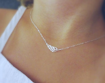Little angel wing necklace, dainty Minimal angel wing necklace, little girl necklace, angel necklace, silver choker, wing charm necklace
