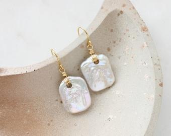 Organic pearl earrings, baroque pearls, pearl statement earrings, bold pearl earrings, large pearl earrings, pearl drop earrings, gold fill