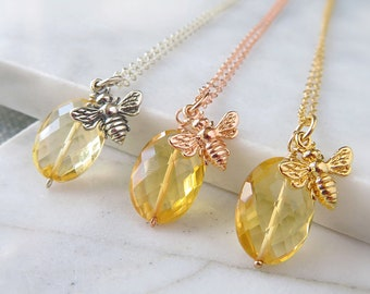 Honeybee necklace, citrine necklace, november birthstone, bumblebee necklace, bee charm necklace, sterling silver 14k gf rose gold