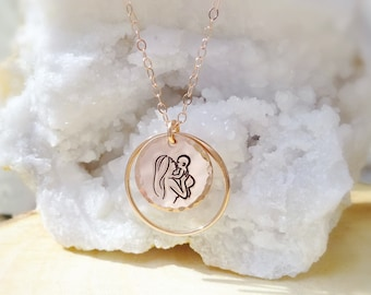 Sweet Mother & Baby hand engraved charm necklace, eternity circle ring, Mother of the bride gift, pink rose gold, hammered disc tag,
