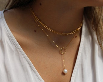 Freshwater pearl drop necklace, organic pearl lariat Y necklace, Gold filled Y necklace, jewelry for bridesmaids, wedding jewelry, Otis B