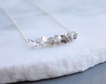 Salt & pepper herkimer diamond necklace, herkimer bar necklace, herkimer crystal necklace, raw diamond necklace, april birthstone necklace
