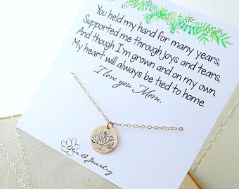 Family Tree of Life disc charm mothers necklace layering layered rose gold chain mothers day gift for mom from daughter, bride, hand stamped
