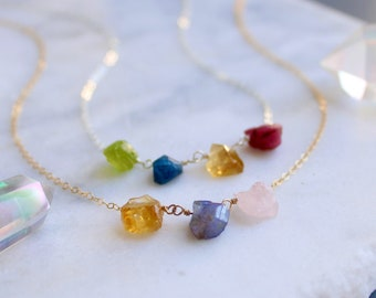 Raw Gemstone necklace. Mother of the groom necklace,Rosario Gem Necklace Mother of groom gem stone necklace Mother of Bridal necklace