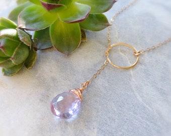 Birthstone Y necklace karma ring circle loop plunging lariat, sterling silver rose gold, pink amethyst semi precious gemstones gems stones
