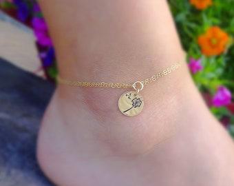 Dandelion wish anklet, follow your dreams, graduation gift, good luck wishes, charm anklet, hand stamped engraved adjustable ankle bracelet