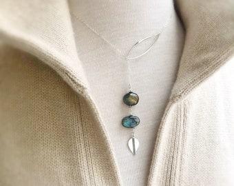 Labradorite Y necklace tribal lotus lariat sterling silver semi precious gemstone plunging necklace Bohemian modern contemporary Otis B
