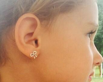 Dainty stud earrings, sterling silver stud earrings, minimal stud earrings, tiny bow earrings, gift for her, earrings for girls,gift for her