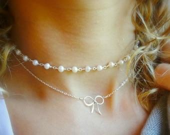 Pearl choker, boho pearl necklace, beaded choker, dainty pearl necklace, gem bead choker, bridesmaid gift, boho wedding, choker for bride