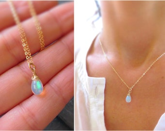 Gift for Her Natural Opal Necklace Birthstone Necklace Opal Jewelry Rose Gold Plated Necklace Dainty Fire Opal Gemstone Necklace