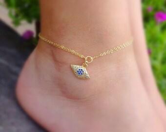 Evil eye nazar anklet ankle bracelet gold minimal adjustable spiritual Kabbalah Arabic symbol symbolic blue all seeing eye bohemian boho