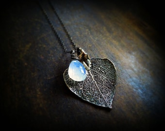 Moonstone necklace, Real leaf jewelry, blue fire, spectral, Oxidized sterling silver, healing crystal, otis b gemstone, wire wrapped,