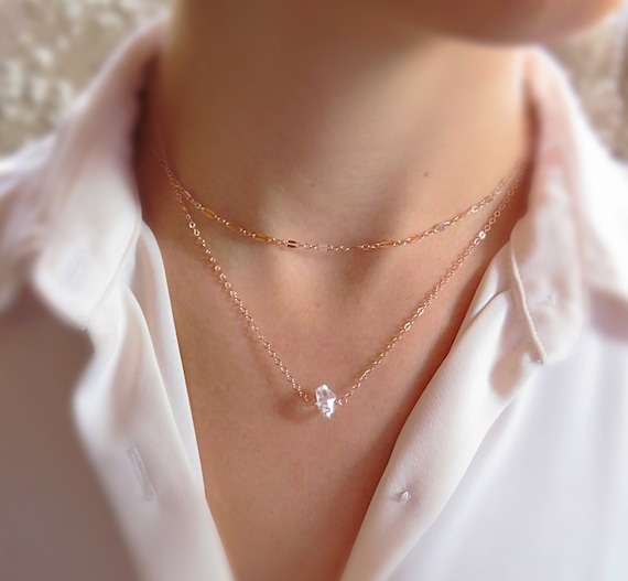 Bridesmaid Gift Crystal Necklace Gift for Her Gemstone Necklace Sterling Silver Crystal Quartz Dainty Necklace Clear Quartz