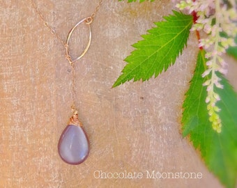 Chocolate Moonstone y drop lariat style necklace, pink rose gold filled, lotus leaf loop, wire wrapped gemstone teardrop, coffee tan brown