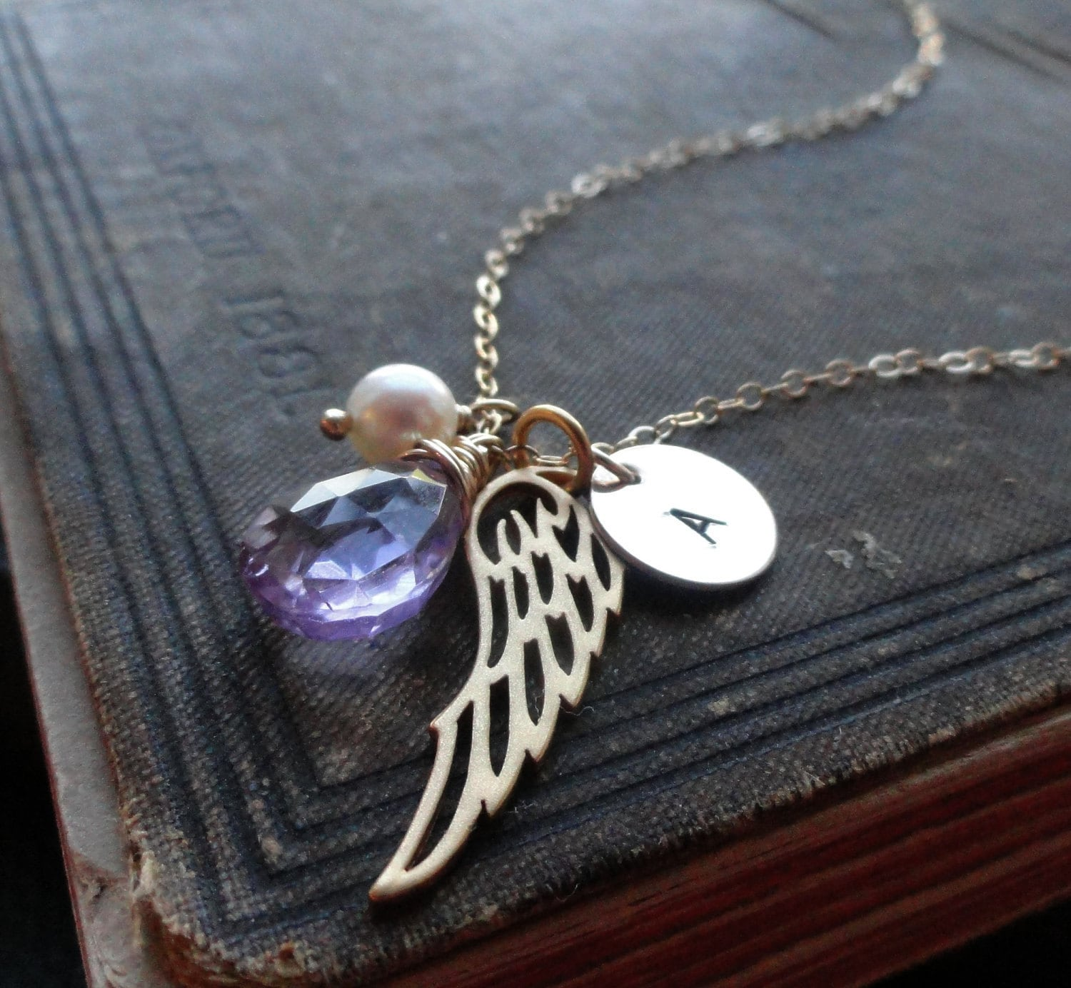 custom personalized jewelry gold angel wing necklace with. Black Bedroom Furniture Sets. Home Design Ideas