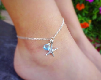 Starfish anklet ankle bracelet with custom gemstone birthstone gem drop, destination wedding, bridesmaid bridal party jewelry something blue