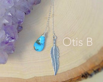 Turquoise & Feather Lariat sterling silver native american southwest style boho bohemian y necklace wire wrapped custom gemstone necklace