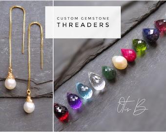 Dainty threader earrings, gemstone earrings, natural gem threaders, thread through earrings, minimal earrings, gift for her, gemstone gift
