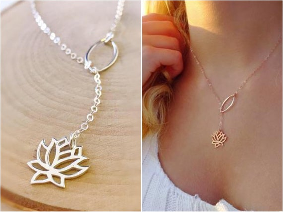 Inspirational Necklace Gift for Her Yoga Necklace Birthstone Necklace Motivational Necklace Personalized Yoga Necklace Lotus Necklace