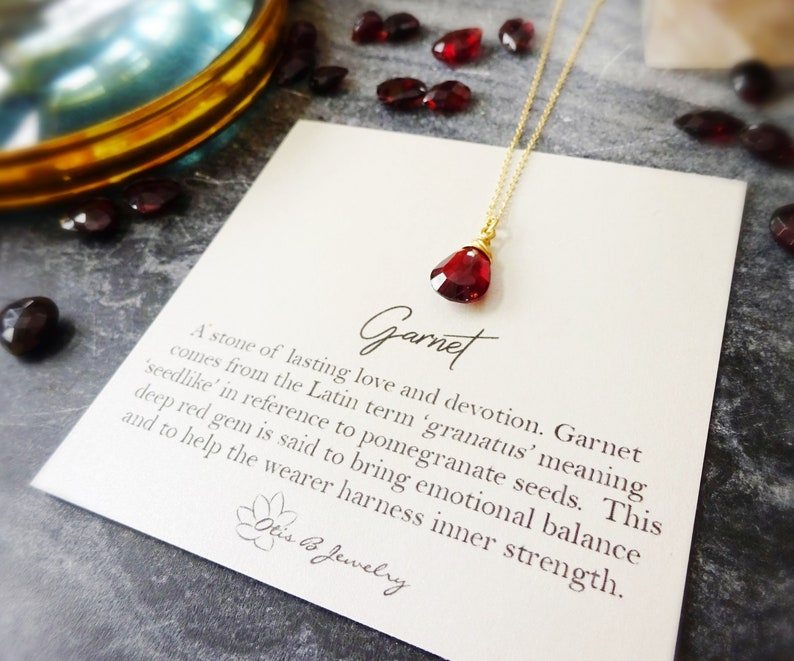 Natural Garnet drop necklace January birthstone, gem meaning energy stone,  deep red burgundy wine wire wrapped rose gold sterling gemstone
