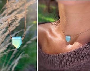 Aqua chalcedony necklace, aqua gem necklace, dainty silk necklace with gemstone, gemstone choker necklace, crystal necklaces for women