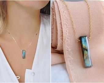 Dainty gemstone bar necklace, labradorite pendant necklace, gem bar necklace, sterling silver custom stone necklace, gold filled jewelry
