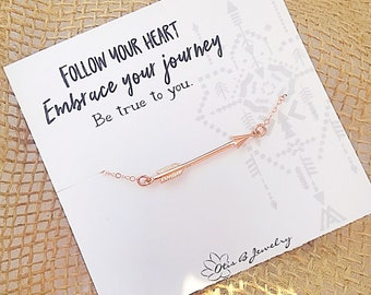 Horizontal Minimal Arrow necklace boho style layering follow your heart, graduation gift, inspiration meaningful, rose gold necklace