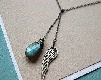 Dark Angel Lariat necklace, Sterling Silver Wing and Labradorite, oxidized