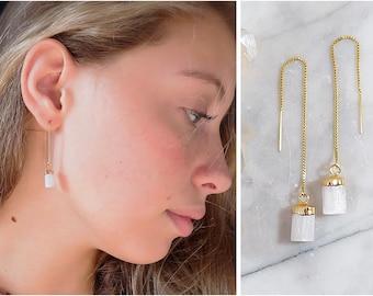 Selenite earrings, selenite jewelry, selenite crystal threaders, raw  crystal earrings, raw crystal jewelry, healing crystals, gift for her