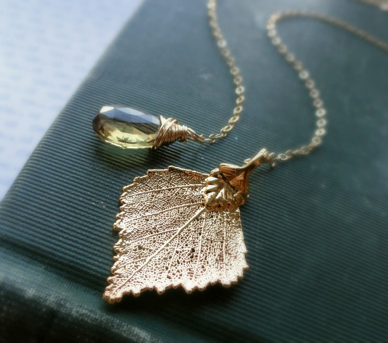 Birch leaf necklace Topaz necklace natural leaf jewelry image 0