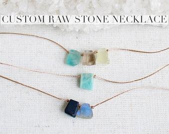 Custom raw stone necklace, genuine crystal necklace, raw crystal necklace, unisex crystal necklace, boho necklace, dainty crystal necklace