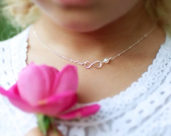 Infinity necklace for girls, flower girl junior bridesmaid gift, little girl necklace, gift for daughter, gift for young girl, little sister