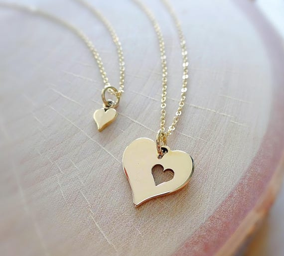 3 Silver Plated Mom and 2 Daughters Heart Pendant Necklaces Mothers day gift USA