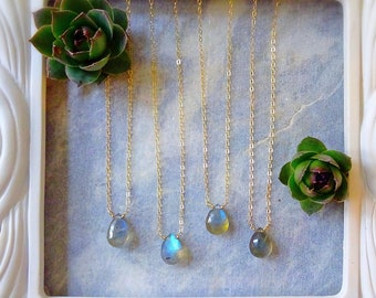 Labradorite layering necklace, delicate gold necklace, blue flash labradorite, dainty necklace, minimal necklace, layering jewelry, otis b
