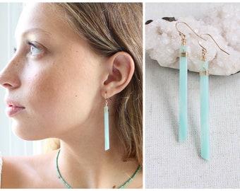 Amazonite earrings, natural amazonite stone earrings, emotional balance stress relief, healing stone earrings, crystal earrings, chakra