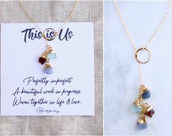 Custom Raw Birthstone Necklace, Birthstone cascade family Necklace, Family tree Necklace, family tree jewelry, meaningful jewelry for mom
