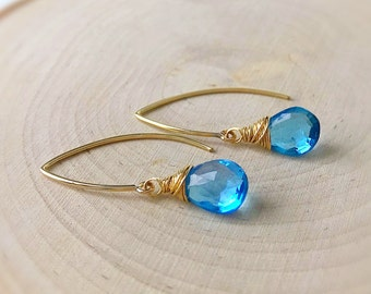 Custom gemstone earrings modern marquis lotus petal leaf shape hook earrings threader long wire wrapped semi precious stones Otis B formal