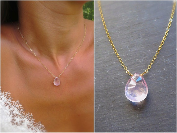 Rose quartz Necklace for Woman Polished Rose Quartz Gold filled Crystal Healing Pink Pendant Birthday Unique Gift