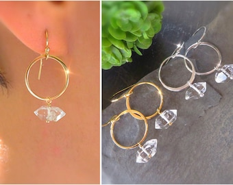 Herkimer diamond earrings, aries gift for her, small hoop earrings, april birthstone, raw crystal earrings, raw diamond earrings