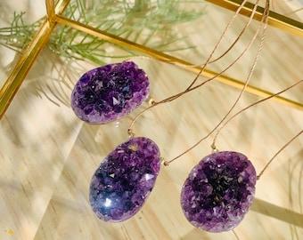 Amethyst crystal necklace, raw amethyst pendant necklace, raw amethyst druzy necklace, amethyst raw stone, rough amethyst necklace