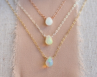 Ultra tiny opal necklace, October birthstone, minimal opal drop necklace, dainty layering necklaces for women, jewelry gift for her, Otis b
