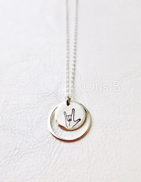 Sign Language For I Love You Asl Necklace Valetines Day Etsy