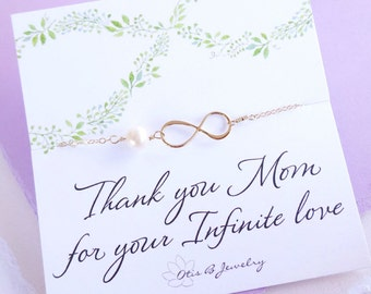 Mother of the bride gift, gift for grooms mom on wedding day, mother in law gift from bride, infinity necklace, pearl necklace for mom