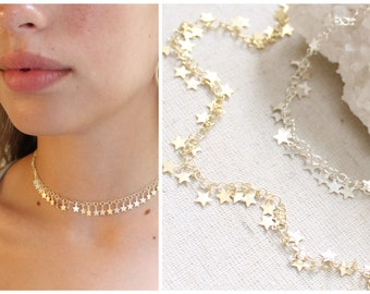 Star choker, sterling silver star choker necklace, Dainty star necklace, boho jewelry, Star charm necklace, gold star necklace, celestial