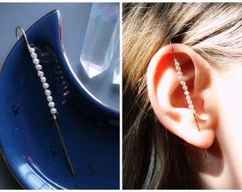 Pearl ear cuff, stick pin ear cuff, ear pin, ear crawler, edgy pearl earrings, boho bride, sterling silver 14k gf, alt jewelry, huggie