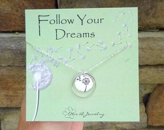 Dandelion necklace, dandelion charm, dandelion jewelry, follow your dreams, inspirational gift for her, gift of encouragement, dandelions