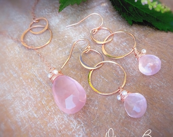 Rose quartz & Rose Gold Y drop lariat necklace and earring set, eternity karma rings, pink gold, wire wrap, teardrop plunging necklace set