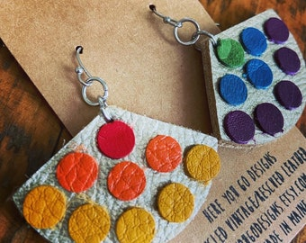 Reconfigured rainbow earrings—recycled leather